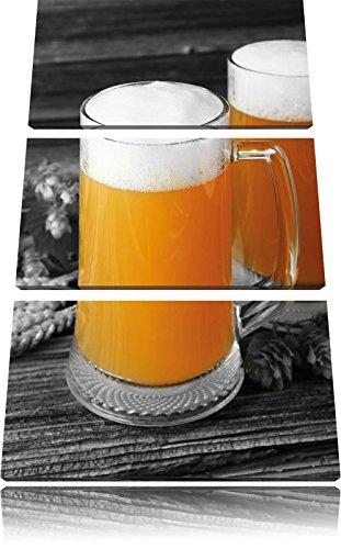 Hefeweizen bierglazen met hopFoto Canvas 3 deel | Maat: 120x80 cm | Wanddecoraties | Kunstdruk | Volledig gemonteerd