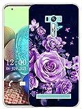 Sunrive Kompatibel mit Asus Zenfone Selfie ZD551KL Hülle Silikon, Transparent Handyhülle Schutzhülle Etui Hülle (X Schmetterlinge und Rosen)+Gratis Universal Eingabestift MEHRWEG