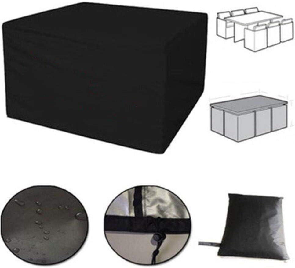 GHHQQZ - Jardín Funda Muebles Impermeable Durable Anti-envejecimiento Proteccion Columpio Mesa Café Muebles Ratán, Negro, Personalizable (Color : Negro, Size : 160x140x120cm)