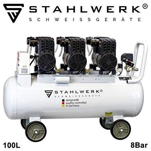 STAHLWERK Druckluft Flüsterkompressor ST 1008 pro - 100 L Kessel, 8 Bar, ölfrei, 360 L/Min, sehr leise, sehr kompakt, weiß, 7 Jahre Garantie