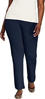 Lands' End Women's Plus Size Sport Knit High Rise Elastic Waist Pull On Pants