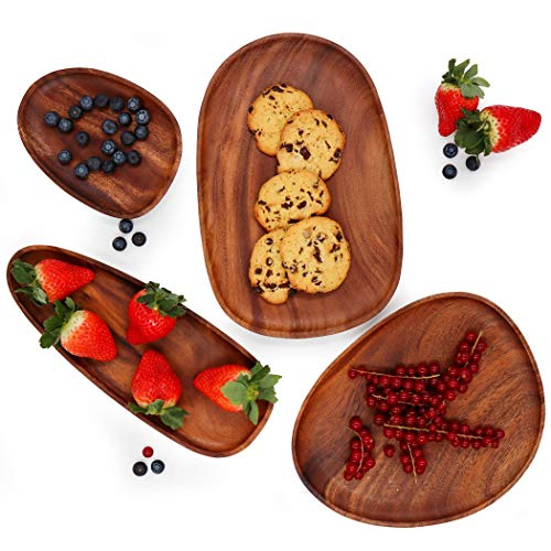 Premium Bazics Solid Natural Acacia Single Wood Serving Platter Set of 4 for Fruit Serving Dishes, Wooden Plates, Cheese Board, Decorative Plate Set, Charcuterie Boards, Serving Tray