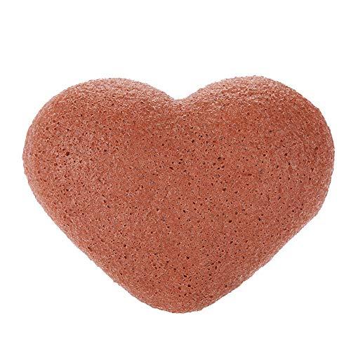 Konjac Sponge, Konjac Wash Face Flutter 7Colors Cuidado facial facial natural en forma de corazón Esponjas húmedas(Arcilla Roja)
