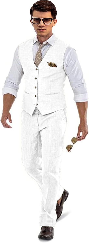 Men's 2 Piece Linen Suit Set Blazer Jacket Tux Vest and Pants for Beach Wedding White