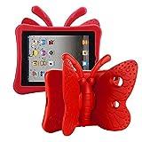 Tading Funda Infantil iPad 10.2 2019/ iPad Pro 10.5/ iPad Air 3 10.5, Carcasa Niño Antigolpes con Asa Convertible Soporte para iPad 10.2' 7.ª, iPad Pro 10.5', iPad Air 10.5' 3.ª – Mariposa, Rojo