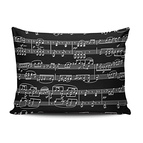 XIUBA Fundas de almohada con diseño de música, color blanco y negro, personalizable, rectangular, 30,5 x 50,8 cm, tamaño boudoir, funda de almohada con cremallera oculta, diseño impreso en un lado