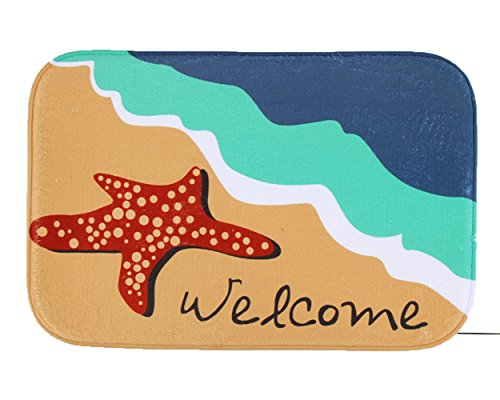 iHome deurmat, koraal fluweel, 40 x 60 cm, Welcome Starfish Strand (meerkleurig)