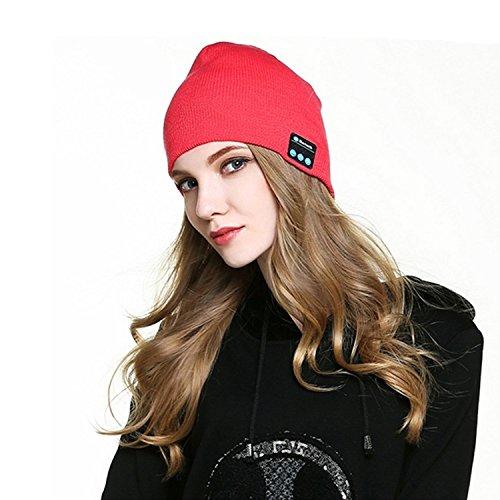 hmilydyk Winter Sport Warm Bluetooth Beanie Strick Musik Hat V4.1Wireless Headset mit Stereo-Lautsprechern Abnehmbare Kopfhörer Gap Zarte Geschenk für Frauen Herren Teen Jungen Mädchen, rot