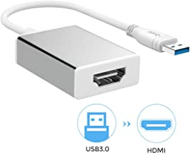 USB to HDMI, USB 3.0 to HDMI Adapter with HD 1080P, Video Audio Graphics Converter for HDTV, Compatible with Windows 7/8/10 PC [Not Support Mac/Vista]