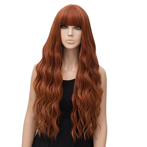 netgo Women's Orange Wig Long Fluffy Curly Wavy Hair Wigs for Girl Heat Friendly Synthetic Party Wigs