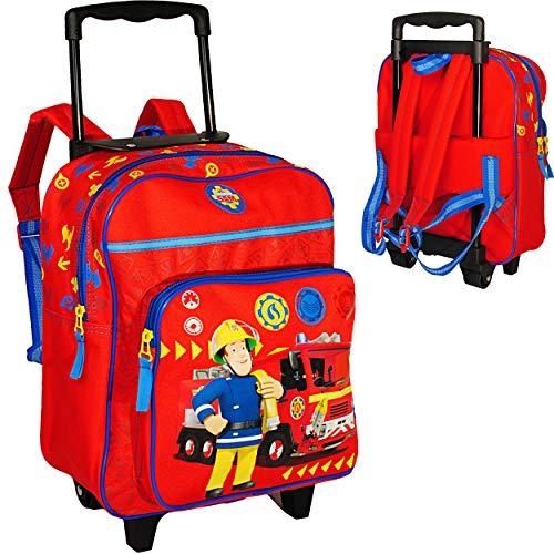 alles-meine.de GmbH 2 in 1 _ Kinder Trolley & Rucksack -  Feuerwehrmann Sam Jones  - wasserabweisend & beschichtet - für Mädchen & Jungen - Trolly mit Rollen - Kindertrolley - ..