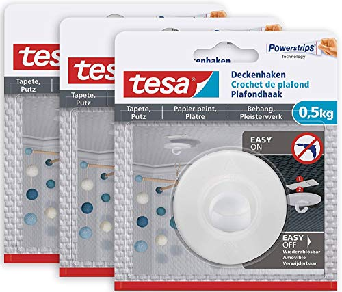 Selbstklebender Deckenhaken Tapeten & Putz im 3er Pack - ideal zur Befestigung von Deko-Objekten - hält bis zu 0,5 kg/Haken - spurlos ablösbar, Weiß - 3 x Deckenhaken