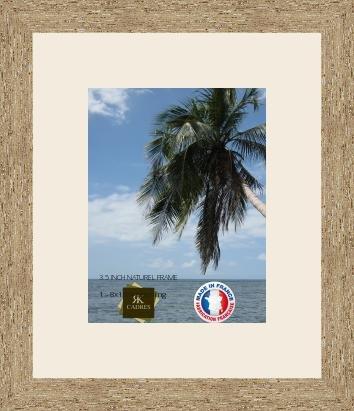 Cadre Photo avec Passe-Partout Blanc Cassé pour Image 20x26 cm ou 26 x 20 cm Cadres Naturel Beige, 3.5 cm de Largeur, Cadre en Bois