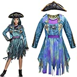 Halloween Girls Uma Descendants 3 Cosplay Costume Birthday Party Dress Up Performance Dress Outfits with Hat (color-1, 8-9 Years)