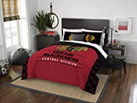 "Officially Licensed NHL Chicago Blackhawks ""Draft"" Full/Queen Comforter and 2 Sham Set, Red/Black"