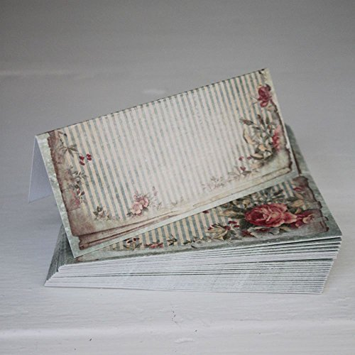 Price comparison product image Luck Vintage Green Floral Wedding Place Cards / Setting x 25 - Shabby Style Chic