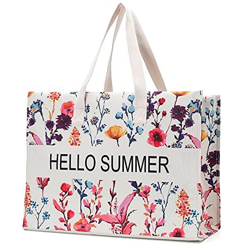JANSBEN Strandtasche Damen XXL Shopper Schultertasche Canvas Beach Bag,Große Strandtasche 48L,Umhängetaschen,mit Reißverschluss