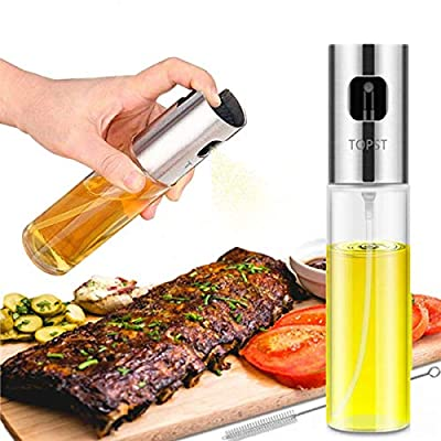 Olive Oil Sprayer, Transparent Food-grade Glass Oil Spray Portable Spray Bottle Vinegar Bottle Oil Dispenser for BBQ Making Salad Cooking Baking Roasting Grilling Frying Kitchen Stainless Steel from Top Studio