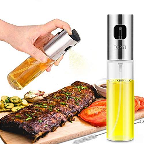 Olive Oil Sprayer, Transparent Food-grade Glass Oil Spray Portable Spray Bottle Vinegar Bottle Oil Dispenser for BBQ Making Salad Cooking Baking Roasting Grilling Frying Kitchen Stainless Steel