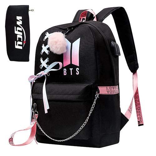 Mochila Escolar USAMYNA Teens para Mujeres College Girls BTS Bookbag Carga USB y Headset Port Mochila para Portátil Mochila para Estudiantes (D)