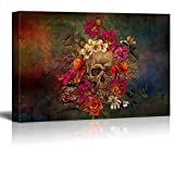 wall26 - Canvas Print Wall Art - Day of The Dead (Dia De Los Muertos) Themed Skull with Flowers - Gallery Wrap Modern Home Art | Ready to Hang - 16x24 inches