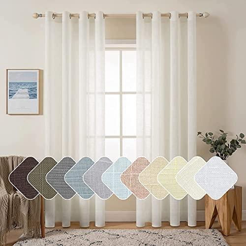 MIULEE 2 Panels Natural Linen Long Semi Sheer Window Curtains Elegant Solid Ivory Drapes Grommet Top Window Voile Panels Linen Textured Panels for...