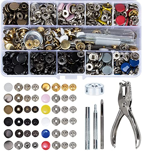 Toolbox 120 Sets Sewing Snaps Fasteners Kit 12.5 mm Metal Button Snaps Press Studs with Punch Pliers and 4 Setter Tools 12 Colors Clothing Snaps Kit for Clothing Leather