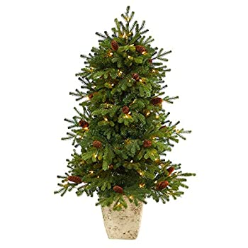 Nearly Natural 4ft Yukon Mountain Fir Artificial Christmas Tree with 100 Clear Lights Pine Cones in Country White Planter Green