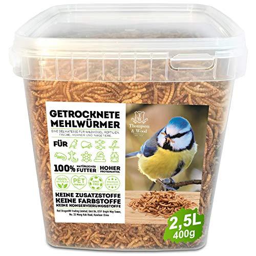 Mehlwürmer getrocknet 2,5 Liter (entspricht 480g), optimales Zusatz Futter für Reptilien, Fische, Vögel & Co.
