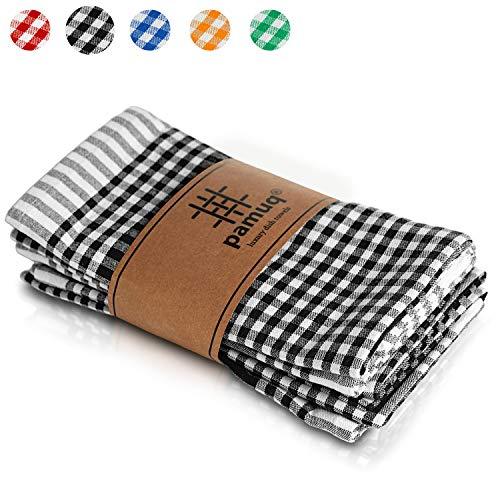 pamuq® hochwertige Geschirrtücher Baumwolle - 100% | 5er Set | 45x65cm + Aufhänger | Vintage Look kariert | Küchentücher Geschirrhandtücher Baumwolle Putzlappen Küchenhandtücher