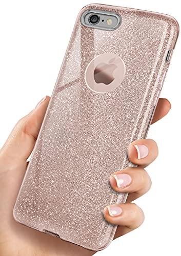 OneFlow Funda diseño de Cristal Brillante con Purpurina Compatible con iPhone 6s...