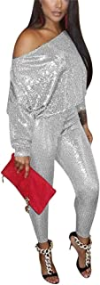 LKOUS Womens Sexy 2 Piece Outfits Glitter Sequin Off The Shoulder Top and Pants Set Bodycon Jumpsuit Clubwear