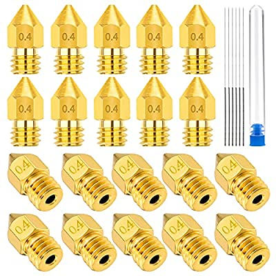 LUTER 20PCS 0.4mm 3D Printer Nozzles MK8 Extruder Nozzles + 5 PCS Stainless Steel Nozzle Cleaning Needles for Makerbot Creality CR-10