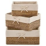 EZOWare Set of 3 Natural Woven Seagrass Nesting Wicker Shelf Storage Baskets Container Bins with Removable Liners