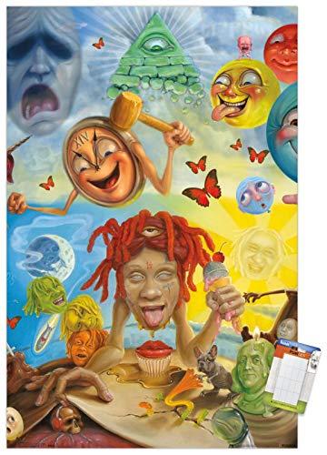"Trends International Trippie Redd-Art Mount Bundle Wall Poster, 22.375"" x 34"", Multi"