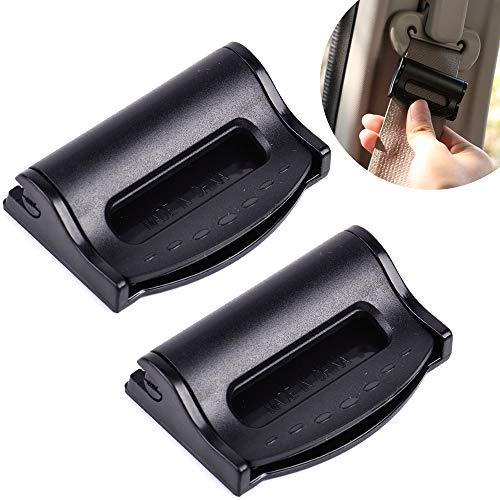 Autositz Gurtversteller - Sicherheitsgurt Clips (2 Stück) Gurtclip zum einstellen der Gurt-Spannung der Sitzgurte zum Relaxen und Entspannen von Schulter & Hals, Schwarz