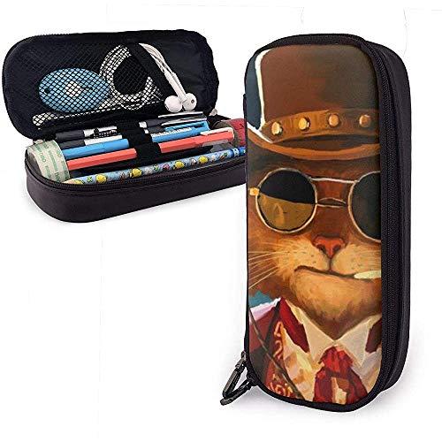 Mooie kat roken schattige pen etui leer tas etui etui met dubbele ritssluiting houder box voor meisjes jongens volwassenen
