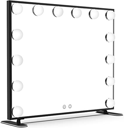 Nitin Lighted Vanity Mirror with Touch Control Design, Hollywood Style Makeup Mirrors with Lights, Tabletop or Wall Mounted Vanity Mirrors (Black)