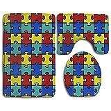 Taroot AA Colorido Concienciación sobre el Autismo Puzzle de 3 Piezas Alfombrillas de baño Set Alfombrilla de baño Alfombras de baño Alfombras de Contorno