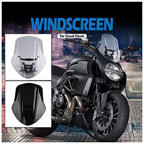 Pare-brise moto pare-brise pare-brise carénage pare-brise déflecteurs d'écran protecteur de visière avec support de montage pour Ducati Diavel accessoires 2014 2015 2016 2017 2018 (Fumée légère)