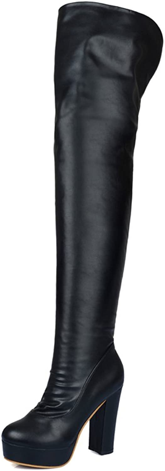 AIWEIYi Womens Patent Leather Stretchy Thick High Heels Over The Knee Boots Thigh High Boots Black