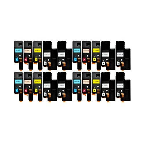 20 Toner kompatibel für Dell 1250 C 1350 1355 CNW C1760 1765 NFW - 59311016 59311018 59311019 59311021 - Schwarz je 2000 Seiten, Color je 1400 Seiten