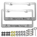 Carsport 2 Pcs Premium Aluminum Alloy License Plate Frame fit Mercedes Benz, for Mercedes Benz Tag License Plate