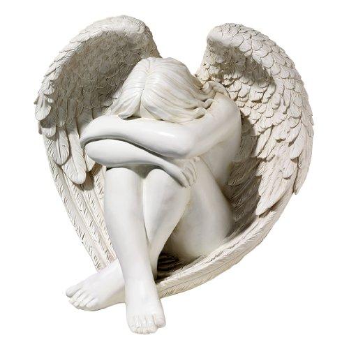 Design Toscano JQ6366 Statue d'Ange Solitude sereine, Blanc Cassé, 28 x 35,5 x 32 cm