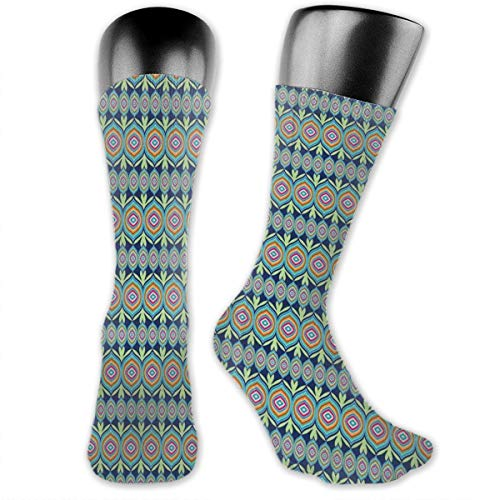 Compression Medium Calf Socks,Abstract African Shapes With Colorful Lines And Green Leaf Motifs On Blue Background