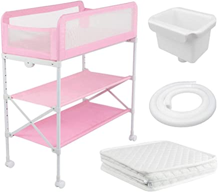 LNDDP Adjustable Baby Changing Station  Foldable Multi Storage Diaper Table  with Wheel