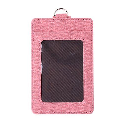 Roydoa - Tarjetero unisex para tarjetas de identificación, ventanas, tarjetas de autobús de oficina, accesorios de insignia, color rosa talla única