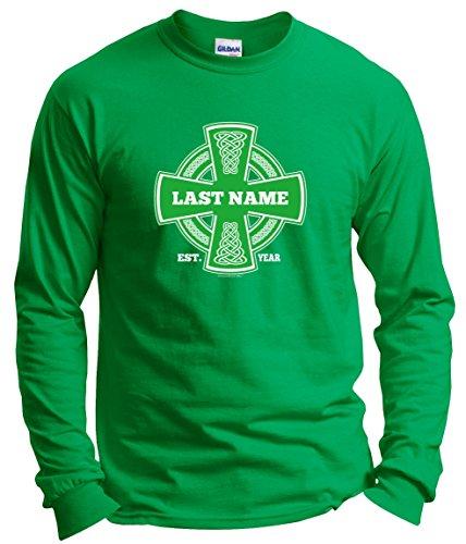 Customized Birthday Gift St Patricks Day Irish Pride Name Cross Custom Long Sleeve T-Shirt Large Green