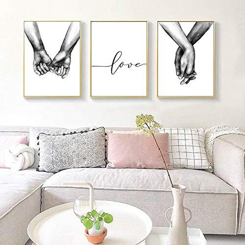 Agarrar Las Manos Cartel nórdico Pintura Minimalista Vivir Impresiones en Lienzo en Blanco y Negro Pared de Amor Cuadros para Sala de Estar sin Marco