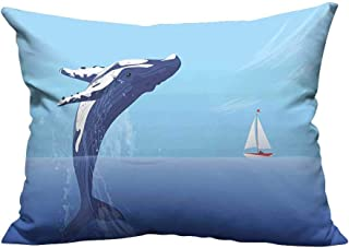 YouXianHome Decorative Couch Pillow Cases Humpback Huge Fish Near Small Boat Ship Yacht Hidden Ocean Sea Print Violet Easy to Wash(Double-Sided Printing) 19.5x26 inch